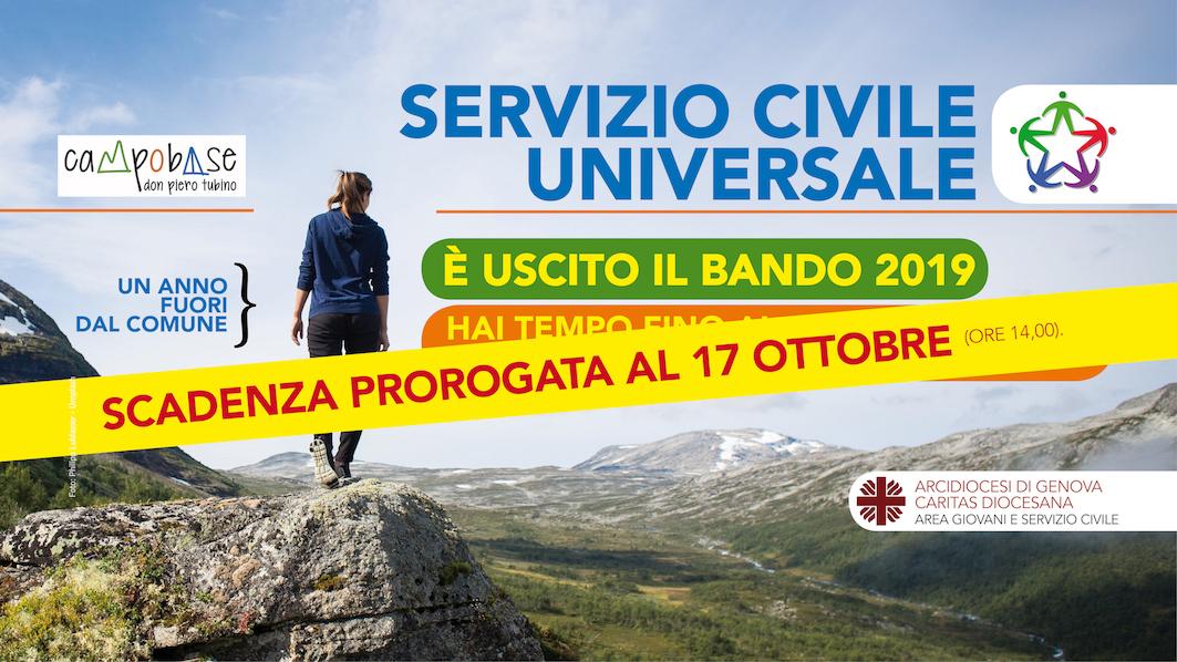 SCU – SERVIZIO CIVILE UNIVERSALE – BANDO 2019